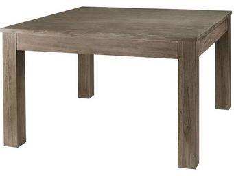 MEUBLES ZAGO - table repas carrée teck grisé 120 cm cosmos - Table De Repas Carrée