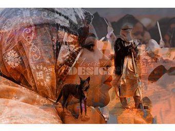 Magel'design - le berger du désert 120x80 cm , 3d effet relief - Tableau Contemporain