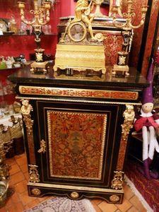 Art & Antiques - meuble d'appui 1 porte en marqueterie à incrustat - Meuble D'entre Deux À Hauteur D'appui