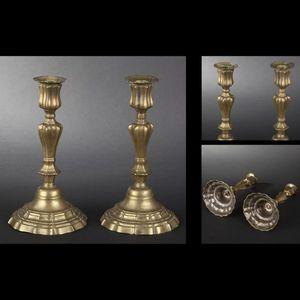 Expertissim - paire de flambeaux en laiton du xviiie siècle - Flambeau