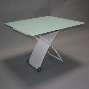 Smart Boutique Design - table en verre carré relevable baltic pieds blanc  - Table De Repas Rectangulaire