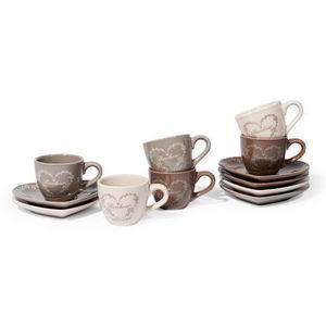Maisons du monde - coffret 6 tasses et soucoupes bonheur - Tasse À Café