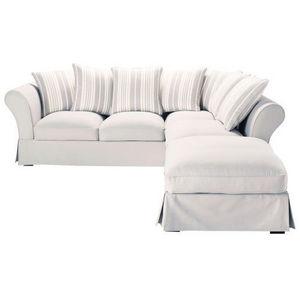 Maisons du monde - canapé d'angle 6 places coton gris perle rayé ivo - Canapé D'angle