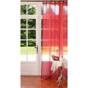 Maisons du monde - rideau lin rouge à pois 105x250 - Rideaux À Lacettes