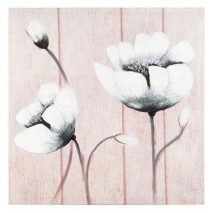 Maisons du monde - toile fleur sur lattes - Tableau Décoratif