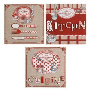Maisons du monde - kit de 3 toiles cuisine d'antan - Tableau Décoratif