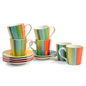 Maisons du monde - assortiment de 6 tasses et soucoupes café soleya - Tasse À Café