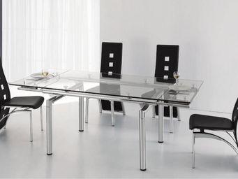CLEAR SEAT - table en verre a rallonge extensible 200/140 x 90  - Table De Repas Rectangulaire