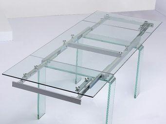 CLEAR SEAT - table en verre transparent � rallonge extensible d - Table � Rallonge