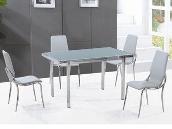 CLEAR SEAT - table en verre pas cher + 4 chaises grises fosco - Table De Repas Rectangulaire