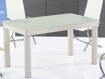 CLEAR SEAT - table en verre rectangle cr�me boreal - Table De Repas Rectangulaire