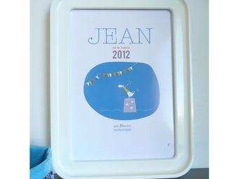 ICI LA TERRE - affiche naissance personnalisée circus - garçon - Tableau Décoratif
