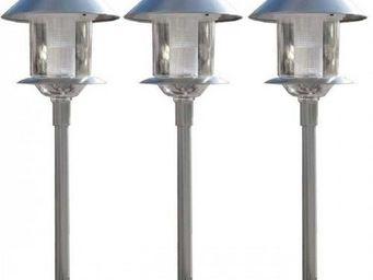 HISTOIRE DE JARDIN - 3x lanternes solaires en inox - Borne Solaire