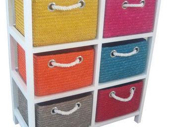 BARCLER - meuble de rangement avec 6 paniers en paille cousu - Meuble De Salle De Bains