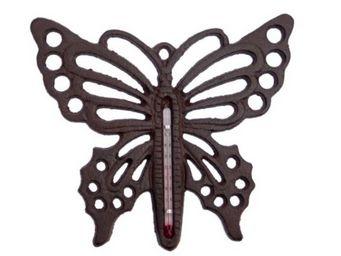 Antic Line Creations - thermomètre de jardin papillon en fonte 17,5x17x0. - Thermomètre