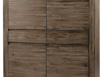 ZAGO - armoire 4 portes 2 tiroirs en teck massif teint� g - Homme Debout
