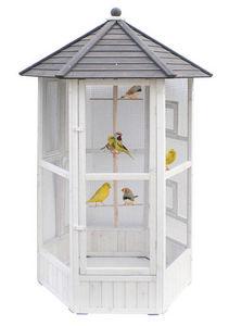 ZOLUX - volière hexagonale en bois 124x124x184cm - Maison D'oiseau