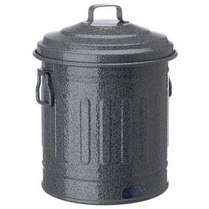 La Chaise Longue - poubelle de table en métal gris 16x14cm - Poubelle De Cuisine