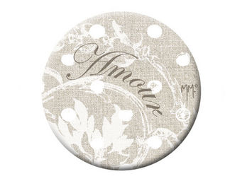Mathilde M - badge petit mod�le pois blancs - Badge