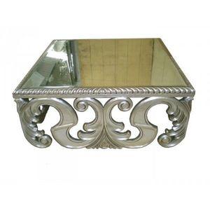 DECO PRIVE - table basse argentee baroque miroir - Table Basse Carrée