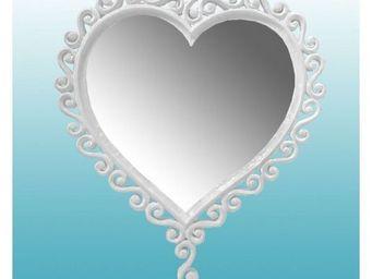 DECO PRIVE - miroir coeur en bois blanc - Miroir