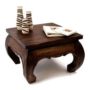 DECO PRIVE - table basse opium 60 x 60 cm bois massif fonce - Table Basse Carr�e