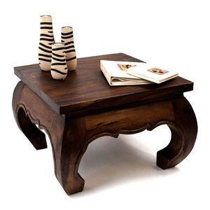 DECO PRIVE - table basse opium 60 x 60 cm bois massif fonce - Table Basse Carrée