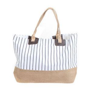 WHITE LABEL - grand sac cabas à rayures pochette unie fond rayé - Cabas