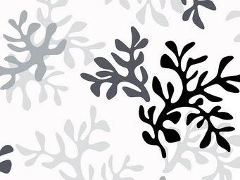 FLEUR DE SOLEIL - tissu corail gris 160x160 - Tissu D'ameublement