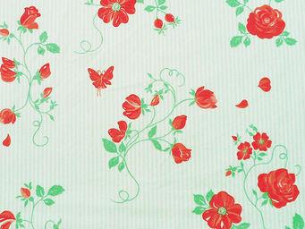 FLEUR DE SOLEIL - tissu roses vert rouge 160x160 - Tissu D'ameublement