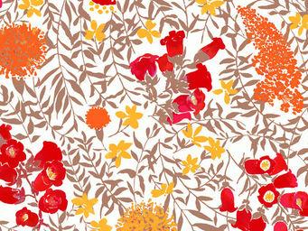 FLEUR DE SOLEIL - tissu mimosa rouge 160x160 - Tissu D'ameublement