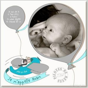 BABY SPHERE - cadre photo naissance avion et ballons - Cadre Photo Enfant