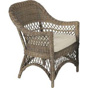 Aubry-Gaspard - fauteuil polo en rotin gris avec coussin 72x72x96c - Fauteuil De Jardin