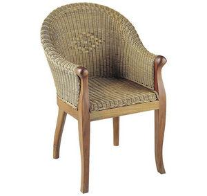 Aubry-Gaspard - fauteuil milano en rotin et acajou 65x68x90cm - Fauteuil De Jardin