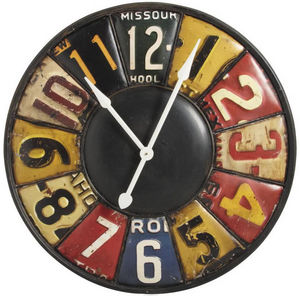 Aubry-Gaspard - horloge murale rétro en métal 79x6.5cm - Horloge Murale