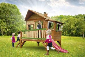 AXI - maisonnette emma sur pilotis en cèdre avec tobogga - Maison De Jardin Enfant