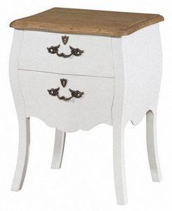 INWOOD - chevet baroque blanc style louis xv 45x36x62cm - Table De Chevet
