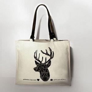 JOVENS - sac en toile et cuir le cerf - Sac À Main