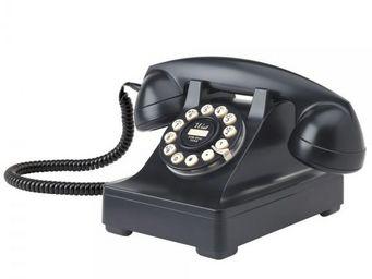 WHITE LABEL - téléphone série 302 noir - Téléphone Décoratif