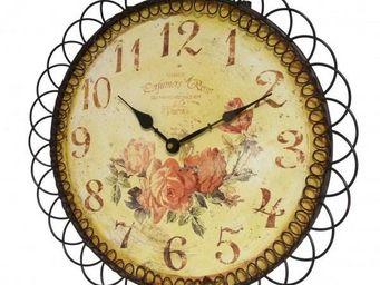 L'HERITIER DU TEMPS - horloge fer et bois motif fleuri 39cm - Horloge Murale