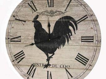 L'HERITIER DU TEMPS - horloge champ�tre bois coq �58cm - Horloge Murale
