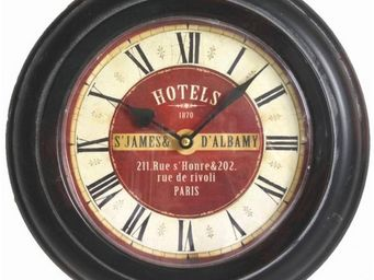 L'HERITIER DU TEMPS - pendule murale en fer patiné noir ø33cm - Horloge Murale
