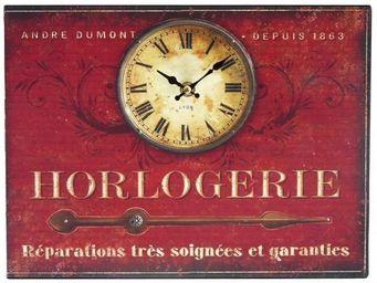 L'HERITIER DU TEMPS - horloge plaque publicitaire rouge - Horloge Murale