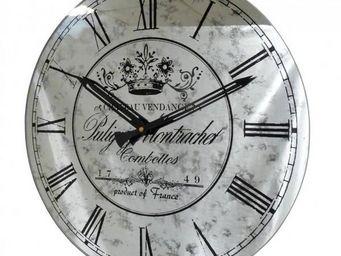 L'HERITIER DU TEMPS - horloge miroir murale grise 39cm - Horloge Murale