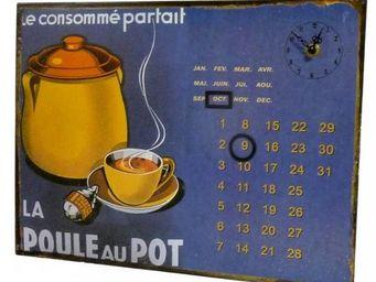 L'HERITIER DU TEMPS - calendrier-pendule plaque pub poule au pot - Horloge Murale