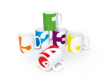 Suck Uk - set de 6 mugs numéros - Mug