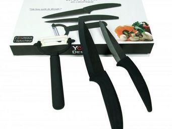 Yoko design - set 3 couteaux céramique lames noires - Couteau Céramique