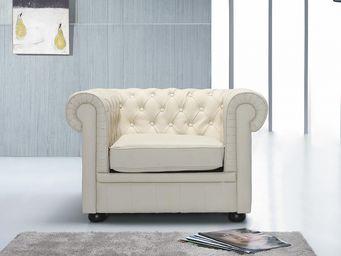 BELIANI - fauteuil en cuir chesterfield beige - Fauteuil Chesterfield