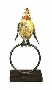 Demeure et Jardin - oiseau en fer forg� sur un anneau - Sculpture Animali�re