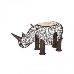 Demeure et Jardin - tabouret rhinoceros en fer forgé et mosaique - Sculpture Animalière